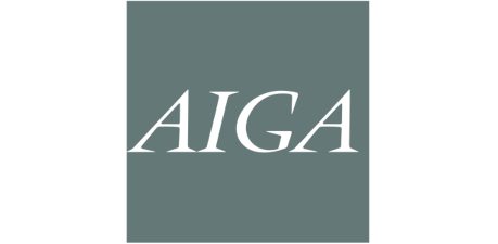 AIGA logo in a light color on a dark square background.