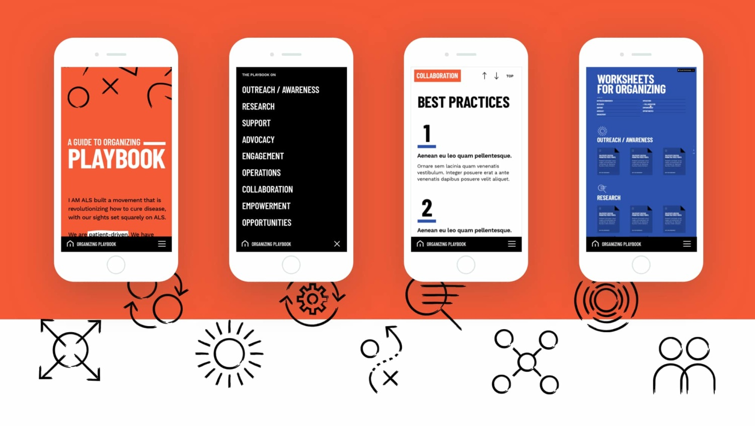 Design compositions set on a mobile device for screens from the Playbook site, arranged horizontally on an orange background. Graphic icons are arranged towards the bottom of the orange background.
