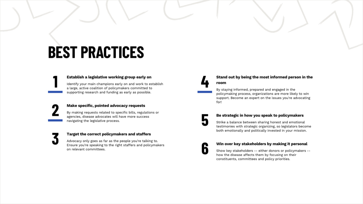 Section for Best Practices with an ordered list of six items. Each item has a thick blue underline. The background is white with abstract line graphics in the top portion.